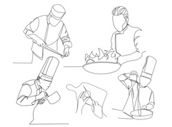 set-continuous line drawing of chef cooking cook a gourmet concept vector illustration.