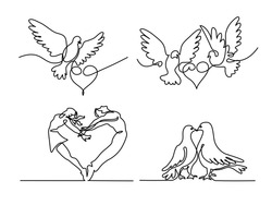 Set continuous one line drawing. Flying two pigeons with heart Valentine Day logo. Black and white vector illustration. Concept for logo, card, banner, poster, flyer