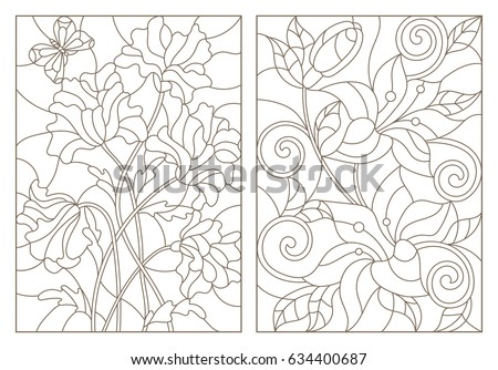 set contour illustrations in