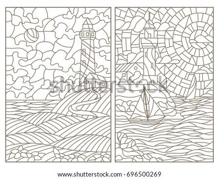 set contour illustrations of