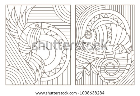 Set contour illustrations of the stained glass Windows of animals ,geometric image of a bird and a chameleon,dark contours on white background