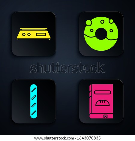 Set Cookbook , Electronic scales , French baguette bread  and Donut with sweet glaze . Black square button. Vector