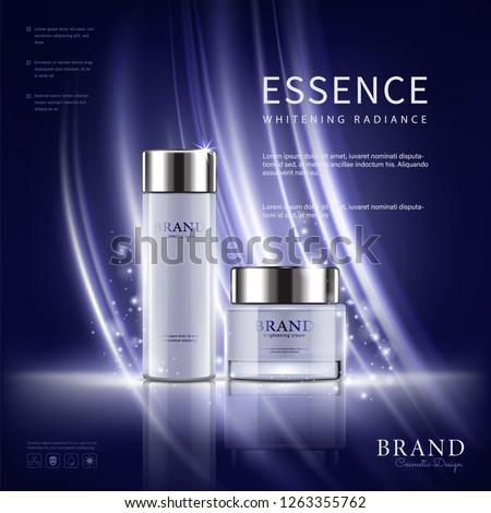 Set cosmetic ads, white package design on light blue background, vector illustration.