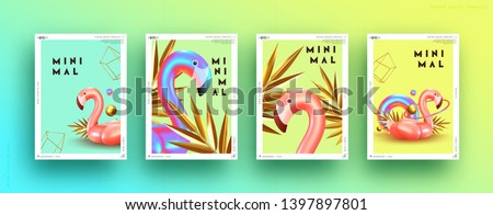 Set cover poster pink flamingo and 3d objects of different shapes, gold palm leaves, geometric volume elements. Design Minimal Abstract Background. Trendy banner, page website. party style. flyer card