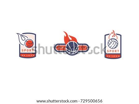Set Creative vintage logo on a sports theme, a ball in a frame