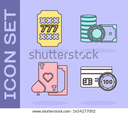 Set Credit card, Slot machine with lucky sevens jackpot, Playing card with heart and Casino chips and stacks money cash icon. Vector