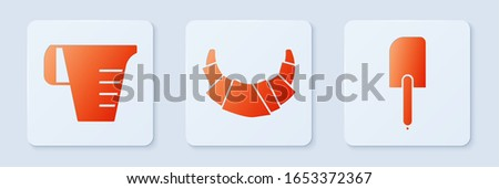 Set Croissant , Measuring cup and Spatula . White square button. Vector