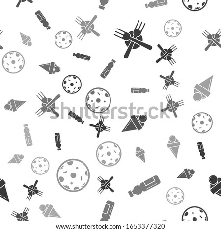 Set Crossed fork, Bottle of water, Ice cream in waffle cone and Pizza on seamless pattern. Vector