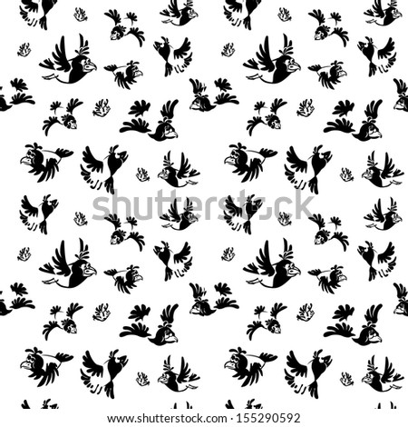 Set crow with various facial expressions. Black-and-white drawing. seamless
