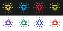Set Cryptocurrency coin Cardano ADA icon isolated on black and white background. Digital currency. Altcoin symbol. Blockchain based secure crypto currency. Vector.