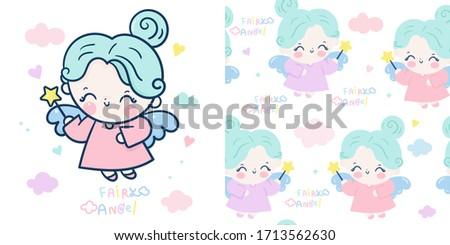 set cute angel cartoon and