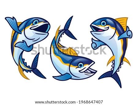set cute cartoon of tuna fish Stock fotó ©