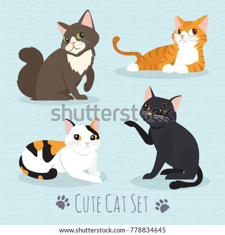 set cute cats flat icons