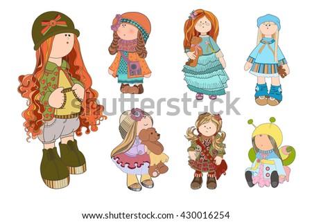 set cute dolls vector