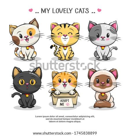 set cute little cat character