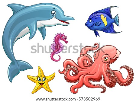 set cute marine animals