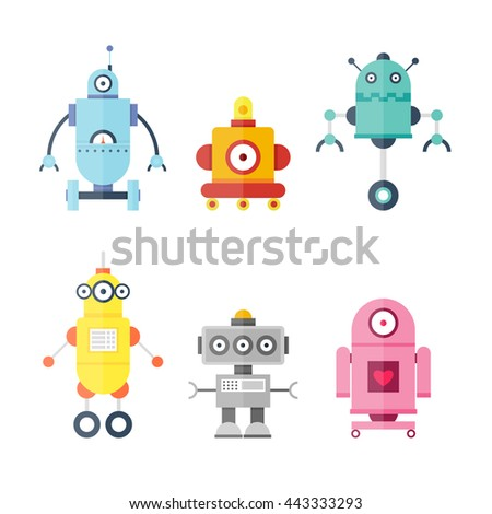 Set Cute Robots. Future. Flat design vector illustration.