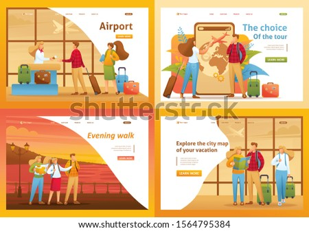Set 2D Flat concepts, people on vacation, on excursions, on vacation. For Concept for web design.
