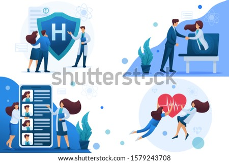 Set 2D Flat concepts work of doctors for the preservation and promotion of health. For Concept for web design.