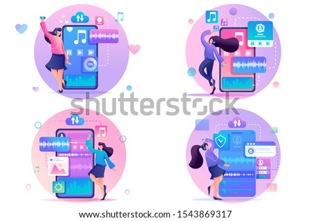 Set 2D Flat concepts Young girls listen and dance to music, favorite tracks on the playlist. For Concept for web design