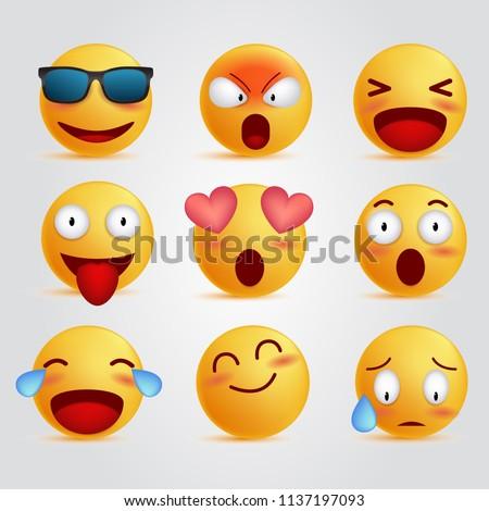 set 3d illustration emoticon unique face, realistic emoji cool expressions, social media reactions vector