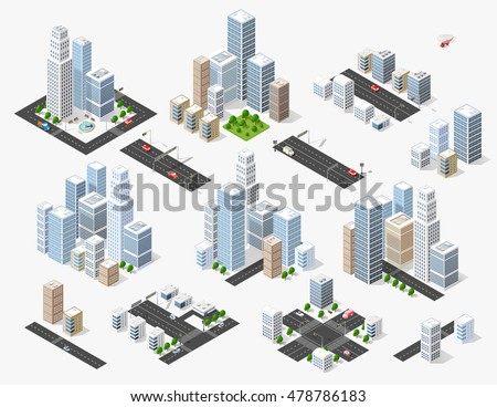 set 3d isometric three