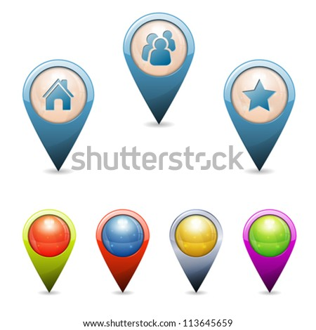 Set 3D Map Pointers with Icons - Home, People, Favorite, isolated. Easily Change the Color
