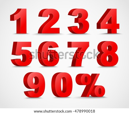 Set 3D of figures  of red color and sign of percent. number from 1 to 9