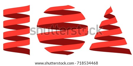 Set 3D ribbon strip, curl centered on the geometric shapes sphere , cylinder and cone, vector logo or holiday decoration for a website or mobile app, easy edit color
