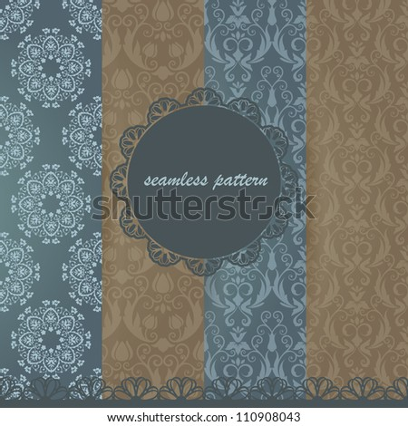 Set damask seamless pattern. Scrapbooking elements. Frame and lace.