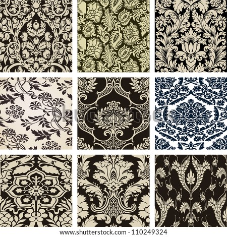 Set damask wallpapers