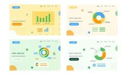 Set data analysis landing page template, research, business data on presentation banner, graph and chart. Business growth with advanced innovative marketing plan, Financial success, project management