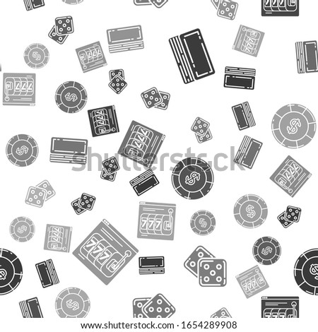 Set Deck of playing cards, Game dice, Casino chip with dollar symbol and Online slot machine with lucky sevens jackpot on seamless pattern. Vector
