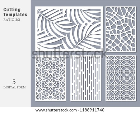 Set decorative card for cutting. Abstract geometric linearpattern. Laser cut. Ratio 2:3. Vector illustration.