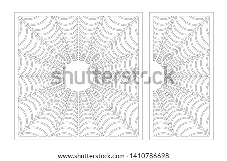 Set decorative card for cutting. Abstract linear halloween pattern. Laser cut panel. Ratio 1:1, 1:2. Vector illustration.