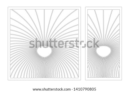 Set decorative card for cutting. Abstract linear pattern. Laser cut panel. Ratio 1:1, 1:2. Vector illustration.