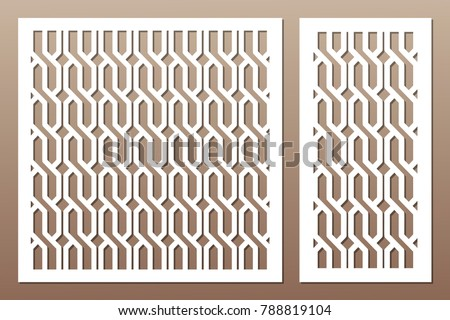 Set decorative card for cutting. Braiding, weave pattern. Laser cut. Ratio 1:1, 1:2. Vector illustration.