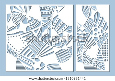 Set decorative card for cutting. Doodle line pattern. Laser cut panel. Ratio 1:1, 1:2. Vector illustration.