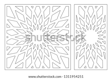 Set decorative card for cutting. Geometry, line, flower pattern. Laser cut panel. Ratio 1:1, 1:2. Vector illustration.