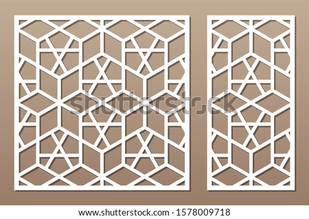 Set decorative card for cutting. Recurring Artistic Arab Mosaic pattern. Laser cut. Ratio 1:1, 1:2. Vector illustration.