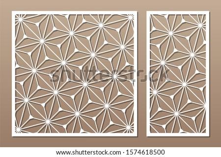 Set decorative card for cutting. Recurring geometric mosaic pattern. Laser cut. Ratio 1:1, 1:2. Vector illustration.