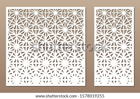 Set decorative card for cutting. Recurring linear geometric mosaic pattern. Laser cut. Ratio 1:1, 1:2. Vector illustration.