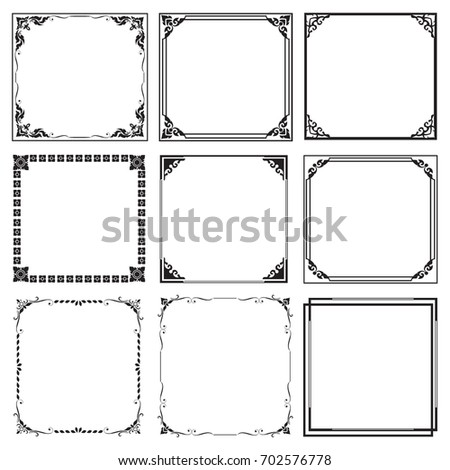 Set Decorative frames and borders , Square, on white background
