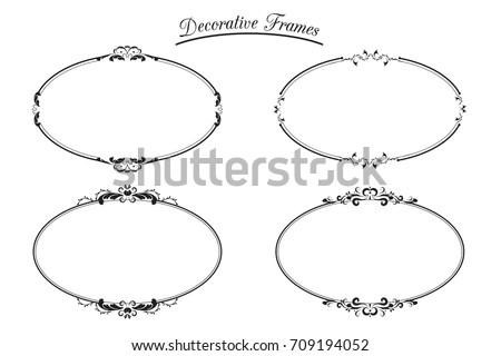 Set Decorative Oval Frames.Design Element Vector Illustration.