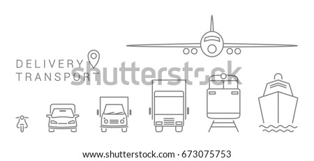 set delivery transport icons