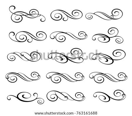 Set design elements. Vector illustration. Black on white.