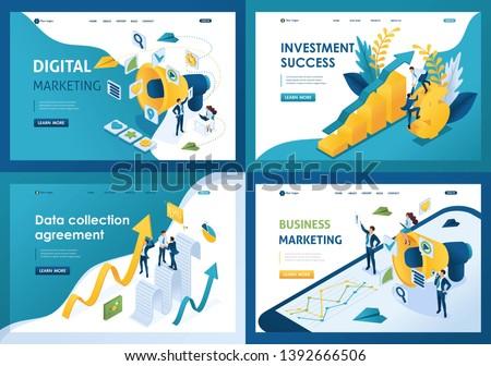 Set design web page templates of digital marketing. Modern illustration concepts for website and mobile website development.
