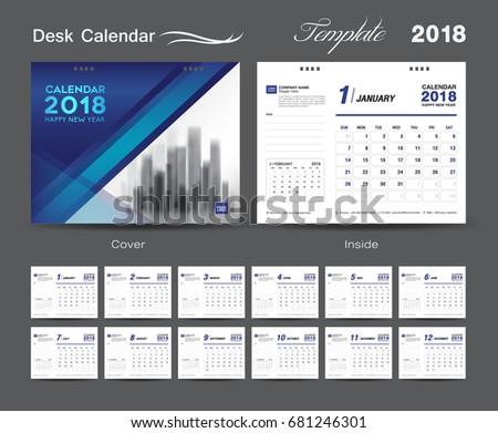 Design template of desk calendar 2018 download free vector art set desk calendar 2018 template design blue cover set of 12 months week saigontimesfo