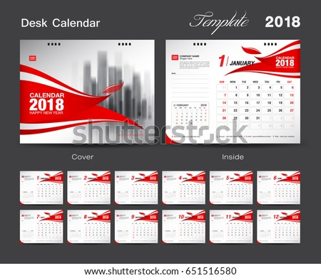 set desk calendar 2018 template design red cover set of 12 months week