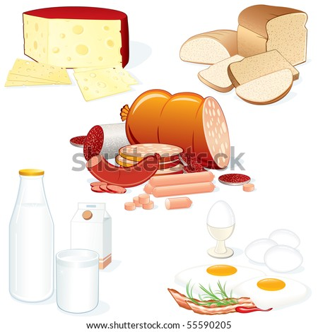 Set #2- Detailed vector food collages (Meat, Cheese, Milk, Bread etc) all objects separated and grouped